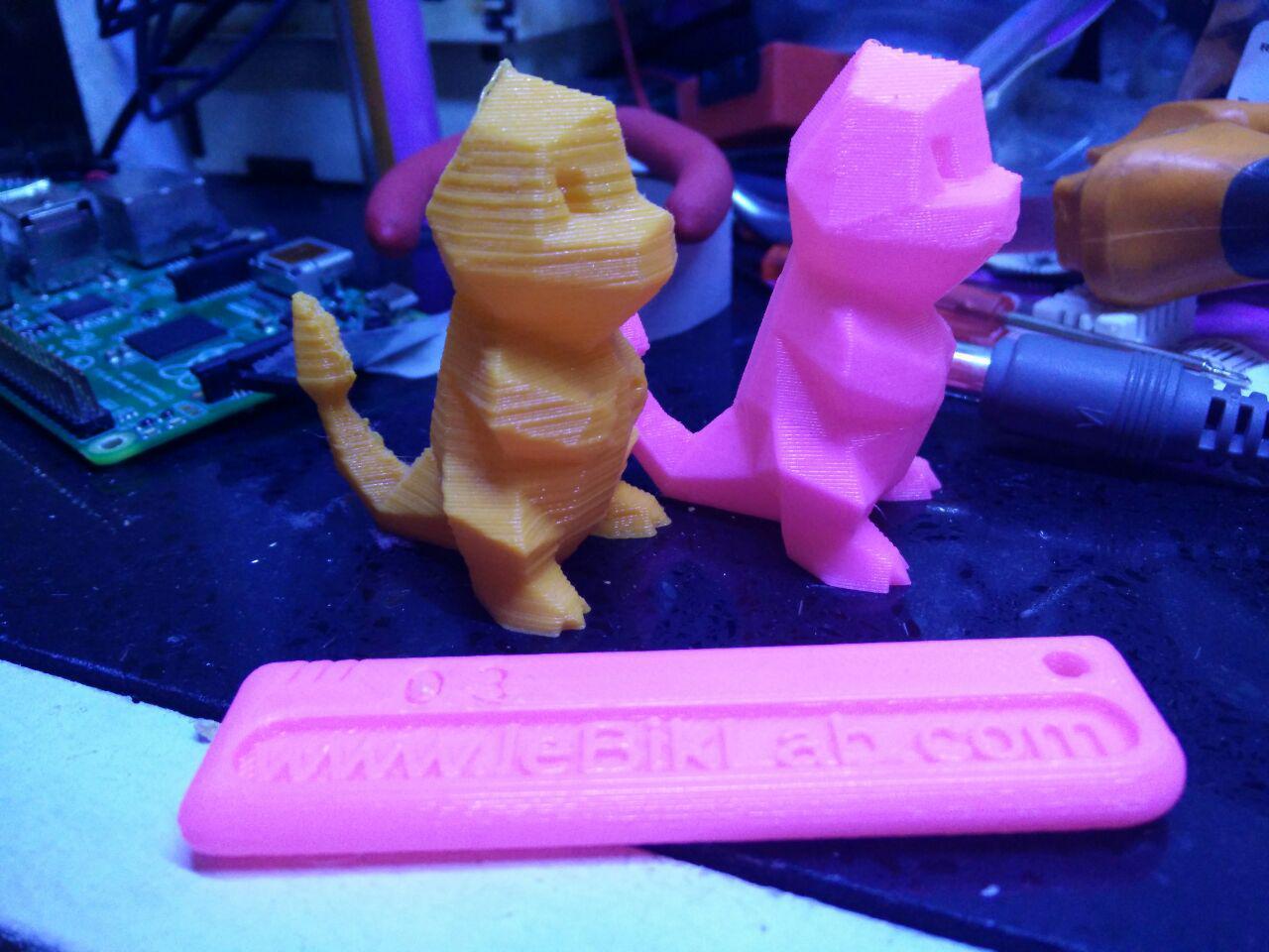Avant et après calibration de l'imprimante 3D